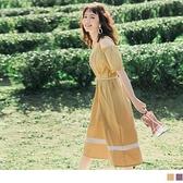 《DA7941》純色高含棉吊帶鬆緊挖肩撞色洋裝(附綁帶) OrangeBear