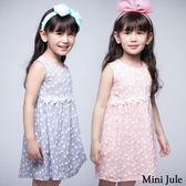 童裝 洋裝 小白花細格紋後拉鍊背心洋裝(共2色) Azio Kids 美國派 童裝