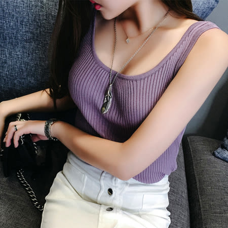 SISI【V6025】超顯胸大U領純色百搭甜美無袖針織螺紋小背心上衣