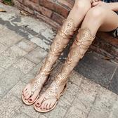 波西米亞民族風鉚釘平跟夾趾長款涼靴旅游度假羅馬高筒涼鞋女 - 歐美韓熱銷