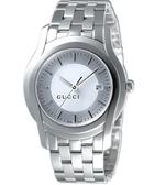 GUCCI 5505 都會經典時尚腕錶-銀白 YA055212