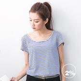 【2%】橫條後背網狀上衣-藍