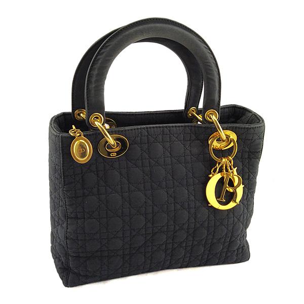 DIOR 黑色菱格紋刺繡帆布金釦手提Lady Dior黛妃包(八五成新)
