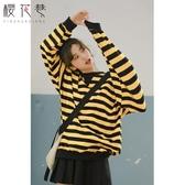 早秋大學T女ins2018新款寬鬆韓版蝙蝠袖條紋中長款超火的上衣女秋