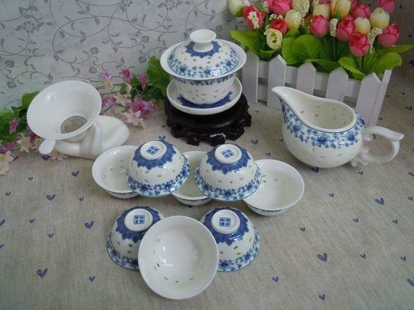蓮花富貴紅青花藍玲瓏瓷茶具縷空