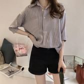 襯衫女新款韓版夏季大碼女裝條紋襯衣胖MM超火短袖雪紡上衣bf      芊惠衣屋