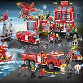 城市系列 高積木消防總局員雲梯車直升飛機船城市系列救援隊拼裝玩具T 2色