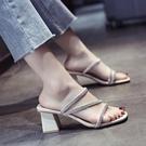 高跟拖鞋 水鉆高跟拖鞋女夏外穿時尚透明2021年新款夏季仙女風粗跟中跟涼拖
