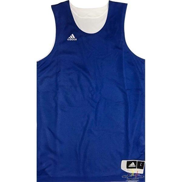 Adidas 愛迪達 球衣 寶藍 白 雙面穿團體籃球服 球衣 透氣 上衣 刺繡 無袖 背心 t恤 CD8691