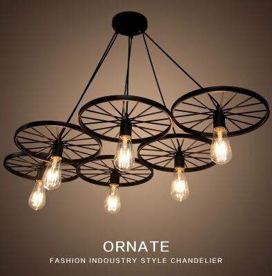 創意個性北歐復古鐵藝車輪吊燈loft客廳咖啡餐廳酒吧臺工業工作室  六頭