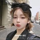 髮箍韓國進口復古純色個性夸張超大蝴蝶結針...