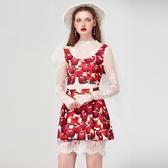 短版無袖上衣+短裙(三件套)-俏麗蘋果印花時尚女裙裝73lk40【巴黎精品】