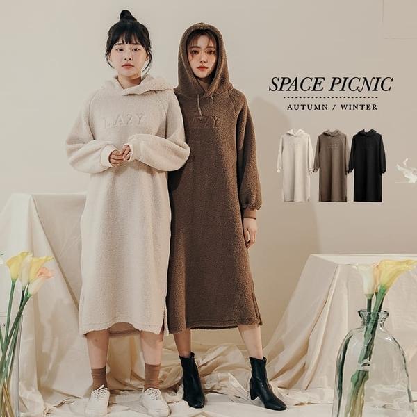 長袖 洋裝 Space Picnic|LAZY刺繡羔羊毛連帽長版洋裝(現貨)【C19113029】