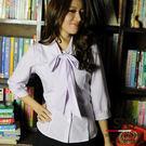 【S-42EF-2】森奈健-優雅成熟OL吸濕排汗領口綁帶七分袖女襯衫(粉紫色)