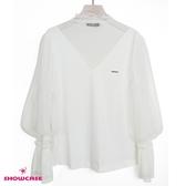 【SHOWCASE】唯美蕾絲V領網紗燈籠長袖棉質上衣