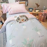 小植栽 D3雙人床包雙人兩用被四件組 100%復古純棉  棉床本舖