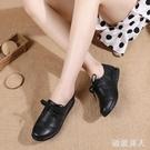 皮鞋女工作鞋黑色平底防滑軟底舒適女鞋真皮耐磨黑皮鞋媽媽鞋 HR354【極致男人】