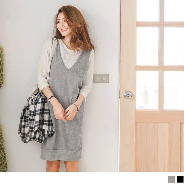 《DA4740-》台灣製造素面口袋式縮口下襬吊帶裙.2色 OB嚴選