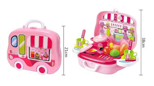 小廚師豪華廚房手提旅行箱~超Q的車車造型行李箱~配件豐富的家家酒玩具*粉粉寶貝玩具*