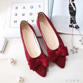 單鞋 春季單鞋女鞋尖頭淺口平跟平底蝴蝶結小大碼黑色工作上班 小艾時尚