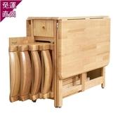 折疊餐桌小戶型現代簡約長方形2多功能4實木6椅8人可伸縮家用桌子H【快速出貨】