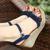 楔型鞋夏季鬆糕涼鞋女波西米亞厚底高跟女鞋一字帶坡跟涼鞋 韓國時尚週