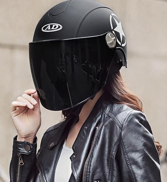 618大促 AD頭盔女機車夏季防曬電動摩托車安全帽男可愛輕便式四季哈雷款百搭潮品