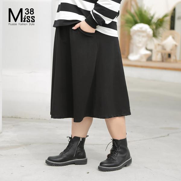 Miss38-(現貨)【A10506-1】大尺碼過膝長裙 休閒純棉彈力套裝(A字裙) 黑色素面有口袋鬆緊腰-中大尺碼