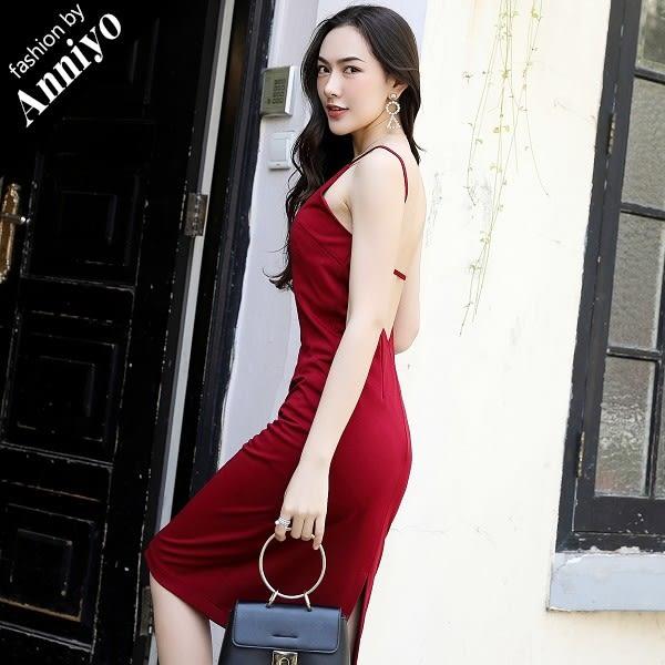 Anniyo安妞‧韓版時尚氣質名媛必備簡約細肩帶露背素面連身裙洋裝禮服 酒紅色
