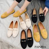 PAPORA絨面一字休閒平底樂福娃娃包鞋KQ1896黑/米/黃