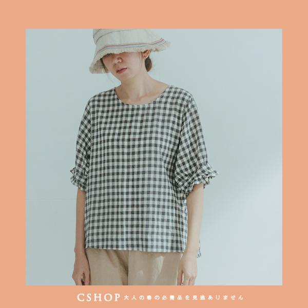 荷葉袖格紋棉麻衫
