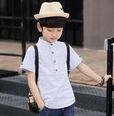 童裝男童夏天短袖襯衫兒童棉質襯衣2018夏裝 LQ4997『小美日記』