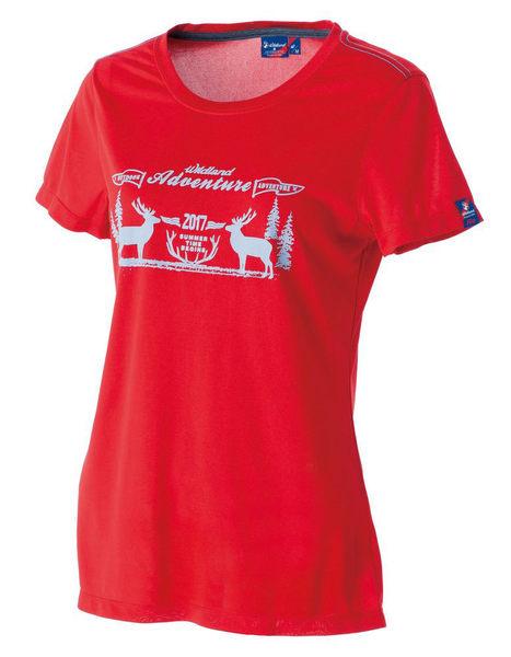 荒野 WILDLAND 女 印花 抗UV高透濕上衣 圓領上衣 T恤 短袖排汗衣 運動衣 吸濕快乾 除臭 0A51693-08紅色