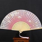 扇子古風女士櫻花日式折扇真絲混紡扇子折扇舞蹈扇和風女扇中國風