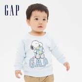 Gap嬰兒 Gap x Snoopy 史努比系列圓領長袖休閒上衣 625097-雲朵藍