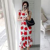 現貨 洋裝  2018新款女韓版氣質方領吊帶修身時尚印花包臀魚尾連身裙禮服 602-062