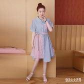 大碼洋裝胖mm時尚氣質短袖連身裙夏季潮流顯瘦洋氣時髦韓版女裝潮 yu12105『俏美人大尺碼』