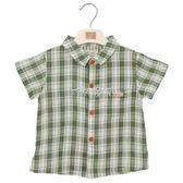 男嬰短袖襯衫 男童襯衫小寶寶襯衣嬰兒幼兒童裝純棉格子短袖翻領立領 珍妮寶貝