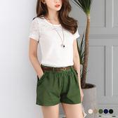 OrangeBear《BA2542》蕾絲拼接口袋附皮帶打褶微澎短褲.5色--適 XL~6L