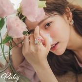 戒指 韓國直送‧水鑽花朵蛋白石指環戒指-Ruby s 露比午茶