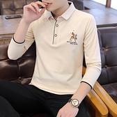 POLO衫 2021年秋季新款有領子t恤男長袖翻領大碼Polo衫青年休閒帶領體恤 歐歐