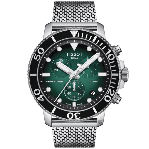 TISSOT 天梭 Seastar 1000 海洋之星300米潛水石英計時手錶-綠/45.5mm T1204171109100