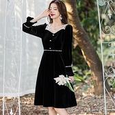 絲絨黑白配色香風方領氣質宴會春酒洋裝[99156-QF]小三衣藏