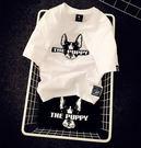 (全館免運) - 原宿風卡通大頭狗寬鬆情侶裝男女短袖T恤 - T-6560