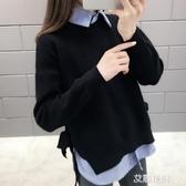 春款套裝女時尚2019寬鬆顯瘦條紋襯衫內搭娃娃領上衣針織衫兩件套『艾麗花園』