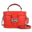 COACH Georgie馬車LOGO皮革手提斜背兩用復古化妝包(紅色)195409-1