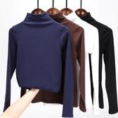 長袖針織衫半高領打底衫女黑色內搭修身薄款T恤純棉上衣 - 歐美韓熱銷