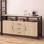 【森可家居】原橡木紋5尺餐櫃 8SB322-1 中島 廚房碗盤收納櫃 北歐工業風