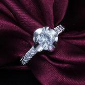 925純銀戒指鑲鑽-花朵自信生日情人節禮物女配件73at105【巴黎精品】
