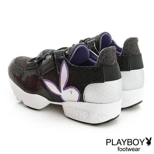 PLAYBOY 閃亮韓系 休閒鞋-黑